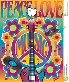 An illustration of a guitar, peace symbol and dove dedicated to the Woodstock Music and Art Fair of 1969. | by Lisa Fischer