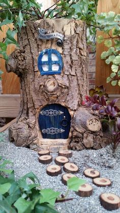 First attempt at tree stump fairy house.