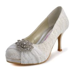 Fancy 3 Crystal Brooch Round Toe Pumps – Wedding Shoes (4 Colors)