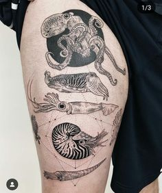Image may contain: one or more people Ocean Life Tattoos, Ocean Sleeve Tattoos, Octopus Tattoos, Tattoo Life, Body Art Tattoos, Cool Tattoos, Tatoos, Squid Tattoo, Sea Tattoo