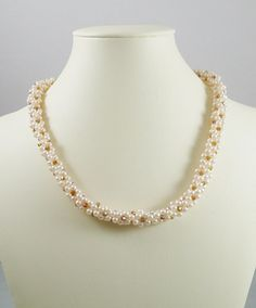 Kumihimo Necklace Cream Pearl and Crystal