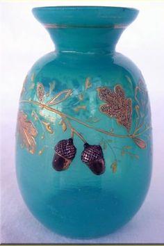 Jeweled Bohemian Art Glass Vase. Attr: Mose