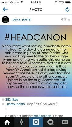 That's so sad! I hated it when Percy we ant missing and Annabeth wasn't the same! She's my fav character-except for Percabeth of course Percy Jackson Head Canon, Percy Jackson Memes, Percy Jackson Books, Percy Jackson Fandom, Percabeth, Solangelo, Percy And Annabeth, Annabeth Chase, Rick Riordan Books