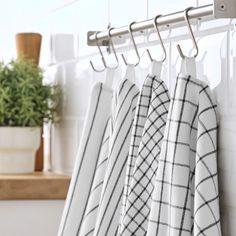 "RINNIG Tea-towel, white/dark gray/patterned, 18x24"" (45x60 cm) - IKEA Dish Towels, Tea Towels, Chalk Paint Kitchen, Air B And B, White Towels, Grey Pattern, Ikea Kitchen, Design, Lineup"