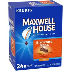 Maxwell House Cafe Collection Breakfast Blend Light Roast Coffee - Keurig K-Cup Pods - Coffee K Cups, Coffee Pods, Coffee Cafe, Maxwell House Coffee, Arabica Coffee Beans, Cafe House, Blended Coffee, Cream And Sugar, Coffee Roasting