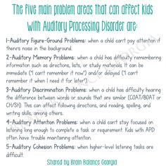 The five main #problem areas that can affect both #home and #school #activities in kids with #APD are: #Auditory Figure-Ground Problems, Auditory #Memory Problems, Auditory #Discrimination Problems, Auditory #Attention Problems, Auditory #Cohesion Problems #auditoryprocessingdisorder #Georgia #GA #Atlanta #APDawareness #awareness #acceptance #hearing #learning #education #brainbalance #addressthecause