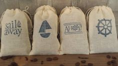 Wedding Favor Muslin Bags Set of 50 nautical sailor beach sea pirate ahoy sail candy Coffee tea Bride and Groom Just Married Ink Colors Sea Pirates, Coffee Wedding Favors, Nautical Party, Muslin Bags, Just Married, Ink Color, Shower Party, Holidays And Events, Party Planning