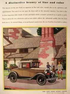 1930 Ford Sport Coupe Ad ~ Distinctive Beauty, Vintage Ford Ads
