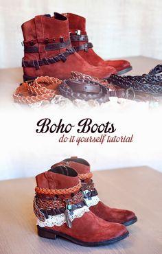 How to make your own Boho Boots! Boots Boho, Boho Shoes, Gypsy Boots, Diy Fashion, Ideias Fashion, Fashion Beauty, Fashion Ideas, Fashion Women, Party Kleidung