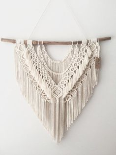 Large Macrame Wall Hanging Neat & Sweet is exactly that, the flowing cotton . - Large Macrame Wall Hanging Neat & Sweet is exactly that, the flowing cotton rope strands sit be - Macrame Wall Hanging Patterns, Large Macrame Wall Hanging, Hanging Tapestry, Macrame Patterns, Bohemian Tapestry, Bohemian Wall Art, Bohemian Decor, Macrame Design, Macrame Art