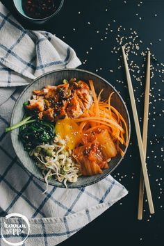 id lohi bibimbap / Hannan soppa Veggie Recipes, Vegetarian Recipes, Healthy Recipes, Food Cravings, Salmon, Curry, Yummy Food, Vegetables, Vegan Food