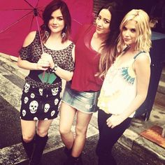 Pin for Later: 40 Photos of the Pretty Little Liars Girls That Will Give You Serious Squad Envy When They Didn't Let the Weather Rain on Their Parade