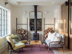 Image result for freestanding wood fireplace remodelista