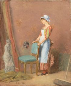 For Sale on 1stdibs - 'The Contemplation of Beauty', Academy of Fine Arts, Geneva, Venus de Milo, Oil Paint, Panel by Emile-François David. Offered by McNaught Fine Art. House Maid, Moving To Italy, Global Art, Art Market, Geneva, Figure Painting, Artist At Work, Carving, Museum