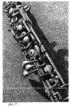 Clarinet Pen and Ink Drawing Print Signed by by poulsonartwork