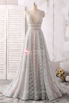 Sparkling and Sheer Silver Plunging V-neck A-line Evening Prom Dress with Chapel  Train b6d8bd05a43e