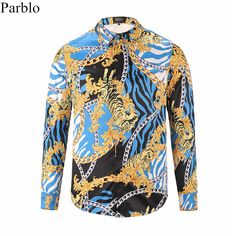 13577936 29.83/Parblo NEW Casual Fashion Men Shirt 3D Print Shirts Novelty Masculina  Camisa Social Hombre