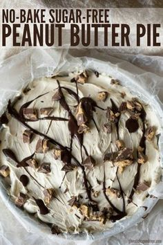 No-Bake Sugar-Free Peanut Butter Pie Looking for a low carb dessert? This crustless no-bake, sugar-free peanut butter pie is just what you need! It tastes rich and decadent without all the added carbs and sugar that will ruin your healthy eating plan. Keto Desserts, Diabetic Friendly Desserts, Low Sugar Desserts, Desserts Sains, Diabetic Recipes, Low Carb Recipes, Dessert Recipes, Diabetic Desserts Sugar Free Low Carb, Desserts For Diabetics