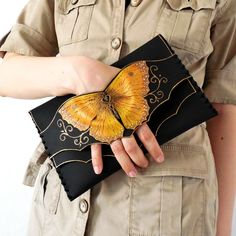 Gold Butterfly Clutch Bridesmaid Clutch Bridal Purse Gold Clutch Leather Anniversary Evening Clutch Bag Unique Clutch Leather Butterfly - Most Beautiful Bag Models 2019 Gold Clutch, Diy Clutch, Leather Clutch, Leather Purses, Gold Leather, Clutch Bags, Diy Leather Purse Pattern, Custom Leather, Leather Tooling