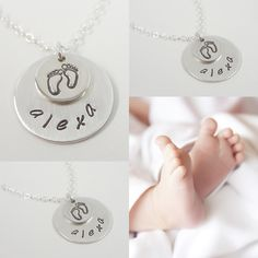 Baby Feet Necklace -  Keepsake Jewelry - Baby Shower Gift - Mommy Necklace - Hand Stamped Personalized Name Necklace. $32.00, via Etsy.