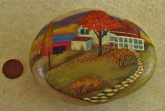 Vintage 1974 Hand Painted Signed Rock Paperweight - Country Cottage Scene