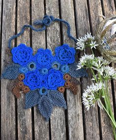 Simplified Irish crochet without padding cord. The blue parts in this yarn are REALLY blue.  A blue flower (German: Blaue Blume) is a central symbol of inspiration. It stands for desire, love, and ...