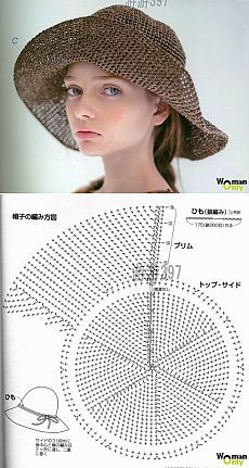 Вязание широкополой шляпы крючком