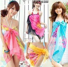 c4d5645467 fashion Pareo printed chiffon women's sarong bikini cover up miss swimwear  beach scarf Pareo Dress skirt Cover-Ups from Appare.
