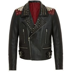 Mens Handmade,Silver Studded Biker Black Leather Jacket All Sizes - Outerwear