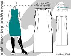 Plus Size PDF Sewing Patterns for Women Classic Close-Fit Sheath Dress Sloper Block > by mc2patterns > XL-XXL > mc2-012082 > Instant Download - JUST CLICK