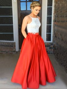 Fashion Two Piece Square Neck Satin with Appliques Lace Open Back Prom Dress - dressesofgirl.com