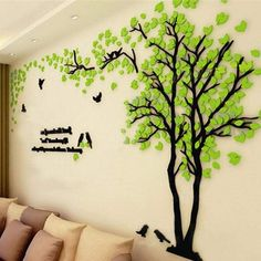 Large Size Couple Tree Mirror Wall Stickers TV Backdrop DIY Acrylic Autocollant Mural Home Decor Living Room Wall Decals