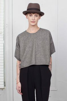 Daisy Tee / Black-White Herringbone Wool-P – IGWT NYC