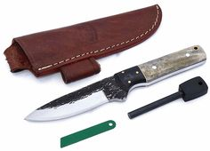 CFK Cutlery Company USA Custom Handmade Hammered D2 Tool Steel Bone BUSHCRAFT-SURVIVAL Skinning 59HRC Hunting Knife with Leather Sheath
