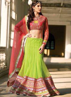 Green And Red Net And Georgette Lehenga Choli | Wedding Lehenga Choli | Bridal Lehenga Choli | Designer Lehenga Choli | Item Code: 2466