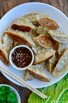 Pork Potstickers with Citrus-Soy Dipping Sauce | Just a Taste Sauce Recipes, Pork Recipes, Asian Recipes, New Recipes, Cooking Recipes, Healthy Recipes, Favorite Recipes, Asian Foods, Appetizers
