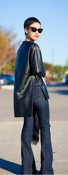 #Black leather and denim. leather skirt #2dayslook #leather style #stylefashion www.2dayslook.com