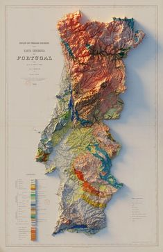 Portugal, Old Maps, Map Design, Topographic Map, Historical Maps, Data Visualization, Landscape Art, History, Prints