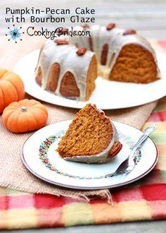 Pumpkin pecan cake with bourbon glaze