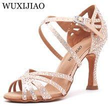 c713825a WUXIJIAO mujeres zapatos de baile zapatos de satén brillante de diamantes de  imitación de fondo suave