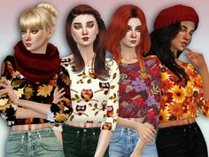 The Sims Resource: Autumn Abundance Cropped Sweaters by Simlark • Sims 4 Downloads