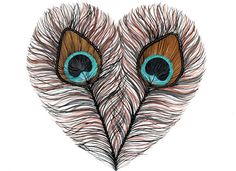 Peacock Feather Heart  Archival Print by RiverLuna on Etsy, $12.00