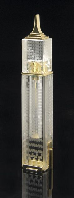 Crystal reminder - rock crystal perfume bottle ode to the Empire State Building by Manfred Wild Idar-Oberstein.