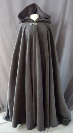 Weather Resistant Soft Grey Fleece Hooded Cloak