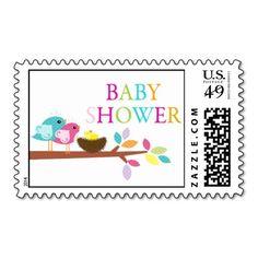 Cute Bird Nest Baby Shower Thank You Postage Stamp