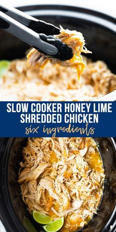 This honey lime shredded chicken recipe is an easy and delicious recipe in the slow cooker with only 6 ingredients. Takes only 10 minutes to throw together. Use it on sandwiches tacos salads and more. Gluten-free meal prep- and freezer-friendly. Crock Pot Cooking, Cooking Recipes, Healthy Recipes, Crock Pots, Gluten Free Recipes Crock Pot, Easy Gluten Free Meals, Healthy Food, Easy Delicious Recipes, Meal Recipes