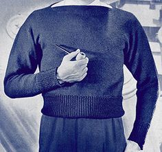 Crew Neck Pullover knit pattern originally published in Knit for Defense, Spool Cotton Book 172. #sweaterpatterns