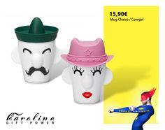 Mugs Charro / Cowgirl con tapa sombrero de silicona, disponible en Cirilo Amorós 24 VLC.