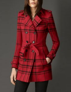 BURBERRY SHORT CHECK TECHNICAL WOOL TRENCH COAT