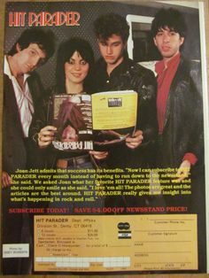 Joan Jett and the Blackhearts, Hit Parader, Full Page Vintage Promotional Ad